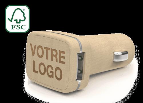 Woodie - Adaptateur USB Voiture Personnalisé avec Logo